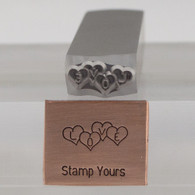 Cluster Love Heart Metal Design Stamp - 15mm