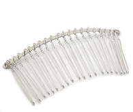 Pack of 5 Silver Tone Comb Base Hair Clip 7.8x3.8cm
