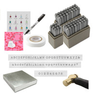 "Typewriter Stamping Kit complete with 3mm uppercase, lowercase and Numbers. Comes with 1lb Brass Hammer, 4"" Steel bench block, Stamp Straight tape, Black Sharpie, Channel Charms and stacker necklace set. Comes with Free practice Grade B blanks."