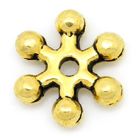 100PCs Gold Tone Snowflake Spacer Beads 8x7mm
