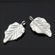 Silver Plated Leaf Charm Embellishments