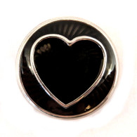 Little Chunks Black Enamel Heart and Metal Chunk