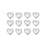 Silver Plated Heart Charm with Birthstone Crystal