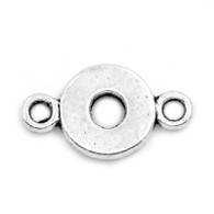 Tibetan Style Silver Round Connector Charm