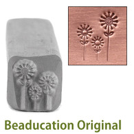 3 Flowers Design Stamp 6.5x8mm