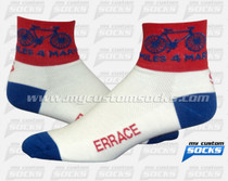 Custom Miles 4 Mary - non-profit cycling team that rides annually Green Socks
