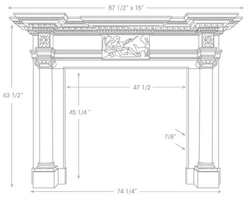 St James Marble Mantel Illustration Diagram