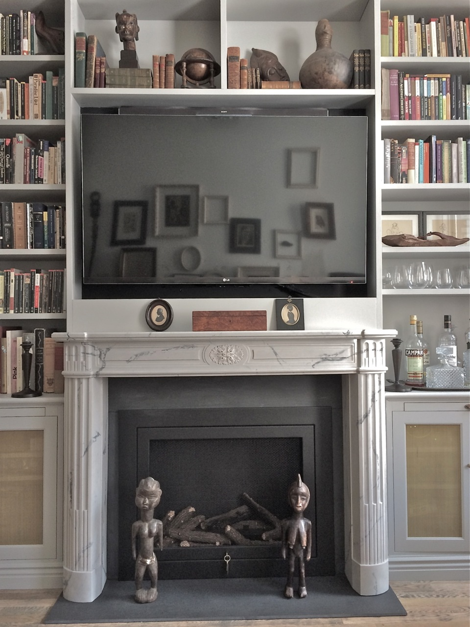 Modern Apartment Library Marble Mantel