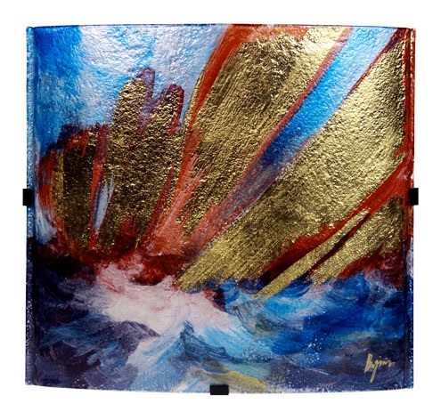 Square Glass Plate with Blue, Gold and Red