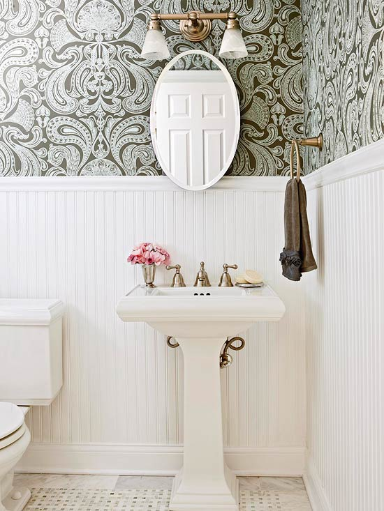 White Beadboard in Bathroom | Tall Wainscot