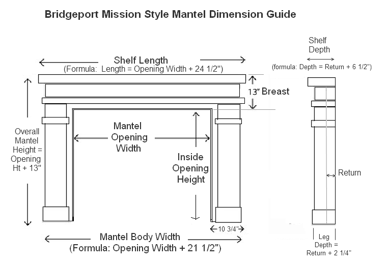 Bridgeport Mission Style Mantel Specifications