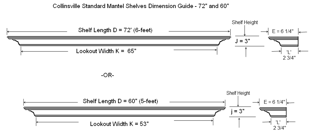 Collinsville Standard Size Mantel Shelf Specification Diagram