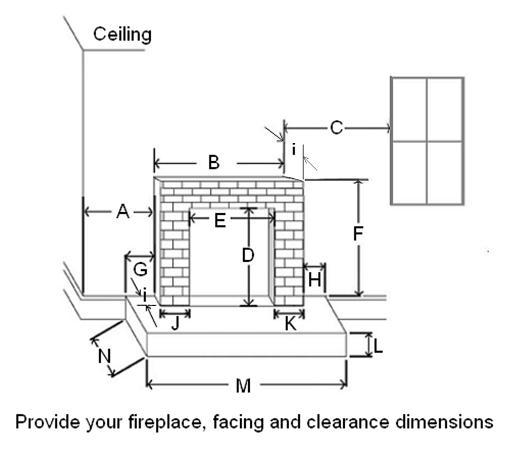 Fireplace and facing dimension guide