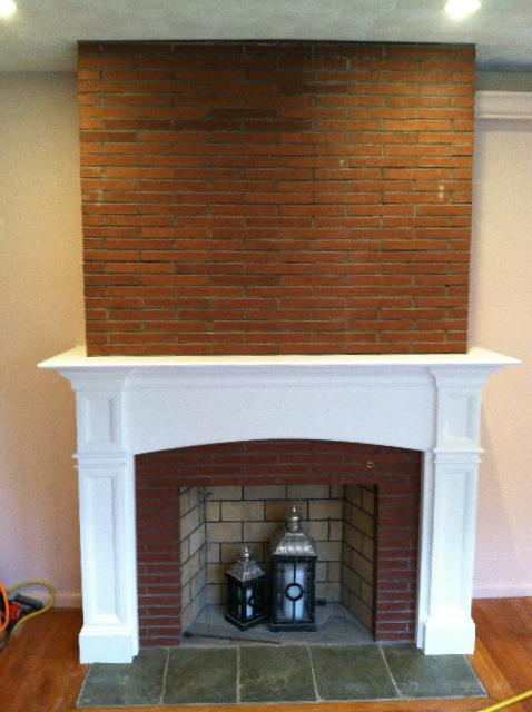 Hanford Fireplace Mantel After Being Installed in Living Room