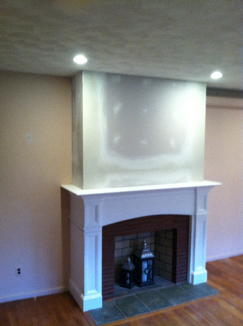 Hanford Mantel After Sheetrocking Exposed Brick