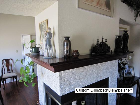 L shaped Mantel Shelf Installed