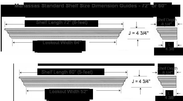 Manassas Standard Mantel Shelf Specifications