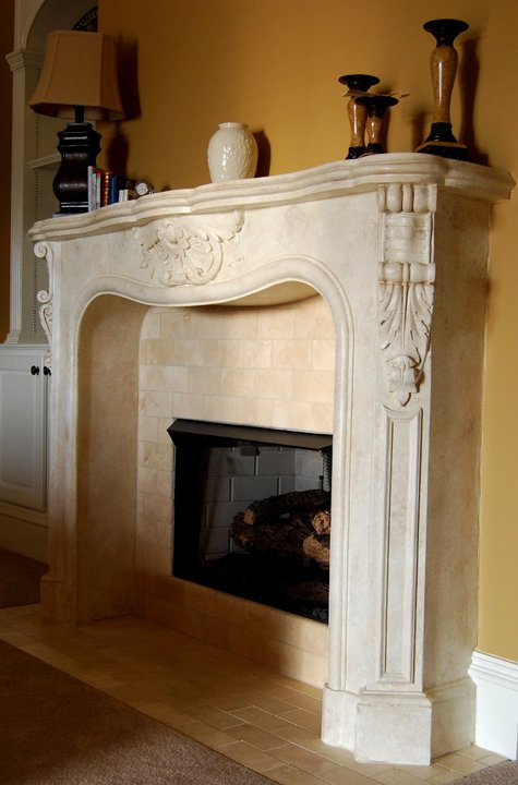 Cast Stone Fireplace Mantel - Faux Travertine Finish