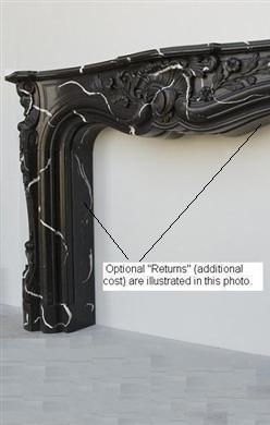 "The Orleans Black Marble Mantel | 0"" Return Depth Option"