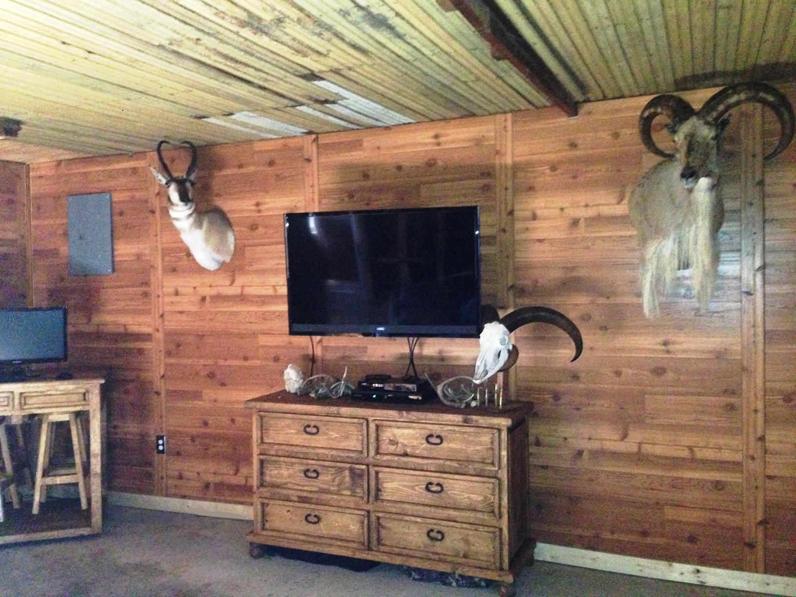 Plywood paneling for a hunting camp