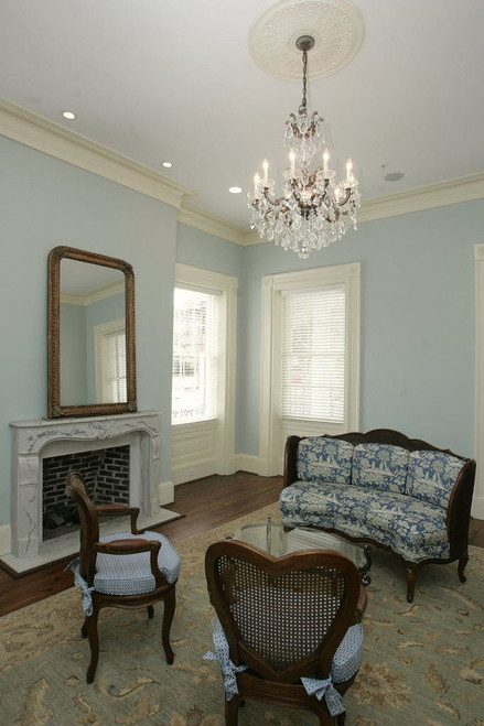 The Savoy marble mantel in carrara was featured in an expansive Mobile, Alabama, 2011 restoration