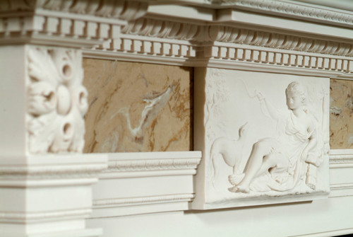 George III styling in this Reproduction Antique Marble Mantel