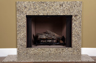 A installed Venetian gold granite fireplace facing.