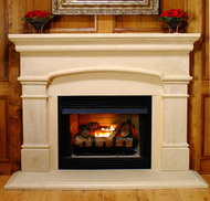Arched sandstone mantel, with adjustable facing panels and optional hearth, Sandstone