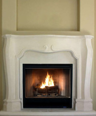 French Modern styling mark this stone fireplace mantel