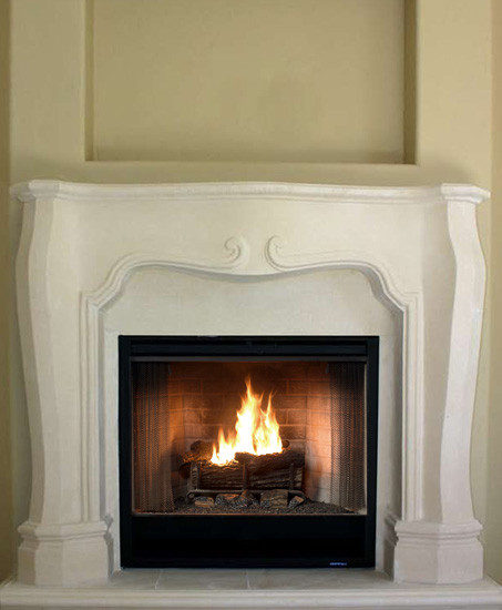 Purchase the lightweight Paris stone fireplace mantel surround with some Modern and French design elements