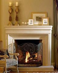 "A stylish stone mantel with a short 66"" mantel shelf"