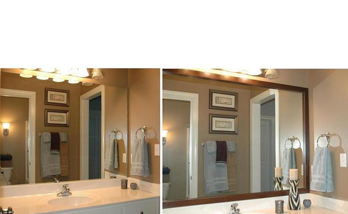 Medford mirror frame - before and after bath makeover