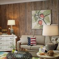 Weathered Cedar rustic wall paneling.  4 x 8 panels.  9 random plank/grooves