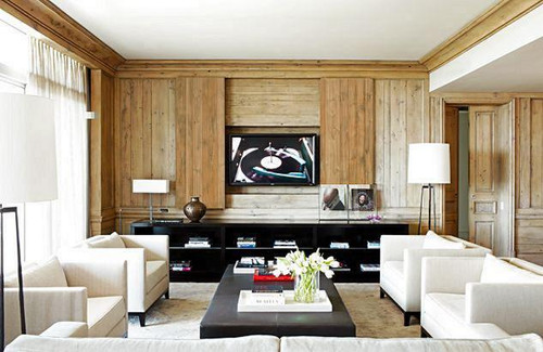 Swampland Cypress paneling featured in this contemporary family room