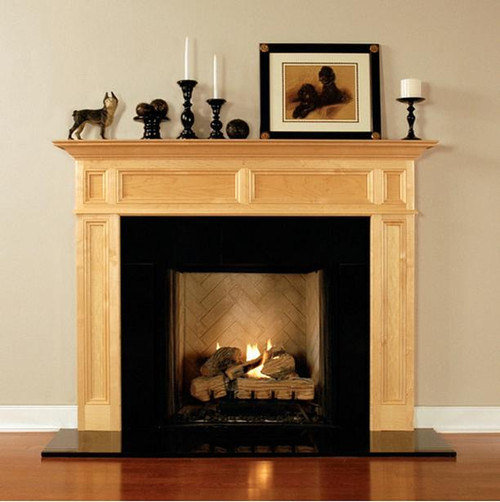 The Compton Wood Fireplace Mantel has a recessed panel design, favored by discriminating customers and designers. Maple w/ Natural Finish