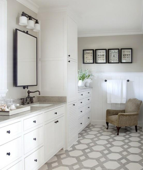 """4"""" wide bead board has been a theme in many a bathroom makeover"""