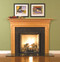 Fireplace mantel with offset legs and dentil molding