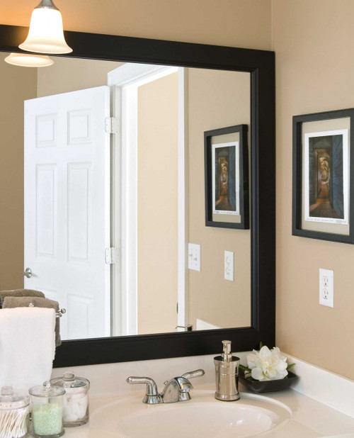 Let The Grant Mirror Frame Make A Dramatic Bathroom Renovation