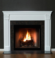 The Olympic Fireplace Mantel has Dentil molding and Corinthian styling