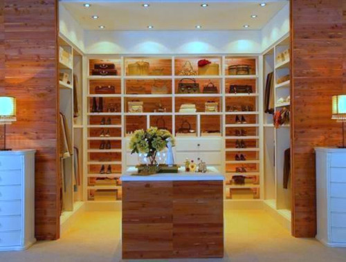 Cedar planking was featured in this beautiful Master Bedroom Walk-in Closet