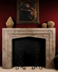 """A Tudor, English style stone mantel with a short 68"""" mantel overall width"""