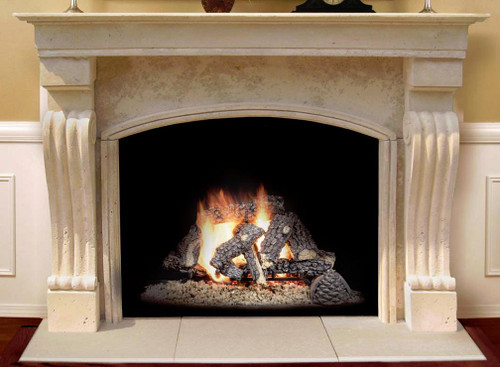 This mantel, with a travertine finish, includes an arched or straight edge surround facing and a hearth