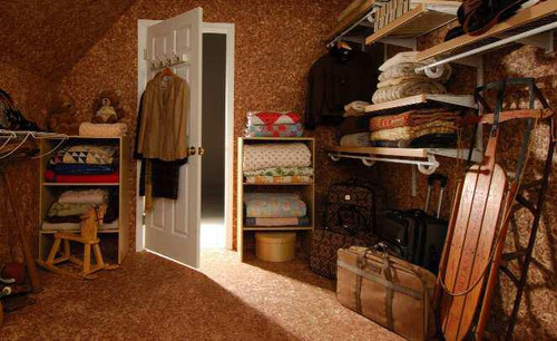 This attic storage room was lined with Cedar Safe paneling for long-lasting freshness