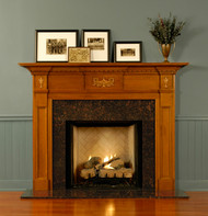 The beautiful lantern appliques enhance the St George fireplace mantel.