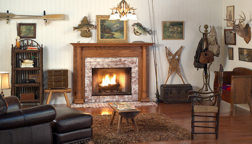Arts and Crafts styling lend beauty to this transitional to traditional wood fireplace mantel surround