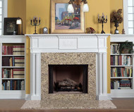 Vancouver Traditional Fireplace Mantel - Venetian Gold Granite Facing.  Dentil molding and appliques are standard but can be ordered without them, for more contemporary styling