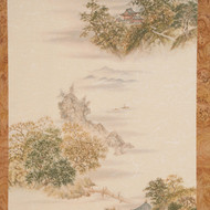 China and Japan Oriental Themed wallpaper-like plywood paneling.  Detailed, partial panel image shown here