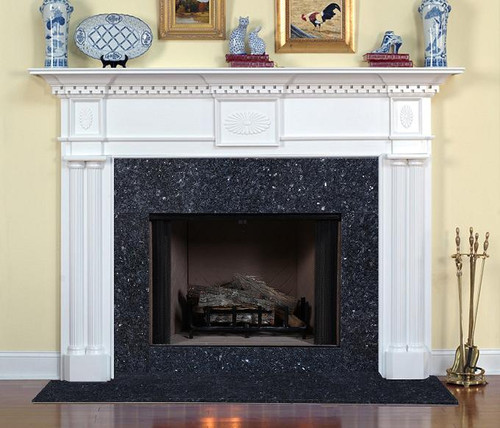 The Columbia traditional fireplace mantel with Blue Pearl Granite facing.