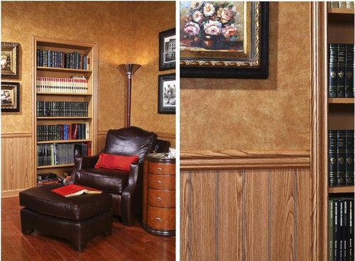 "Highland Oak 4"" beaded paneling below our leather designer library paneling"