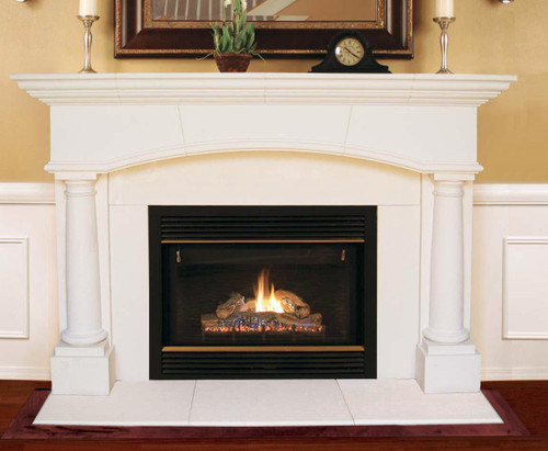 "Kingsley Arch Thin Cast Stone Mantel.  Almond Buff Sandstone finish.  80"" x 10"" Top Shelf"